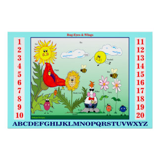 Bug-Eyes & Wings Teach Letters and Numbers Poster