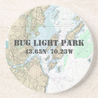 Bug Light Park, Maine Authentic Boating Chart Coaster