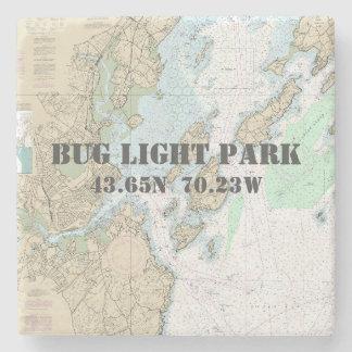 Bug Light Park, Maine Authentic Boating Chart Stone Coaster