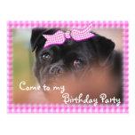 Bug-Puppy Pk Plaid Postcard-Invitation-customise