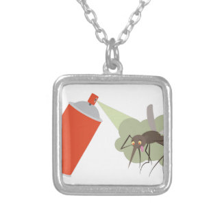 Bug Spray Silver Plated Necklace