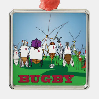 Bugby- because bugs play ball too! Silver-Colored square decoration