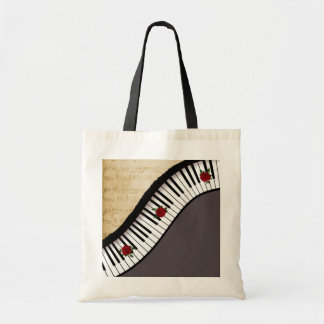 Buget Tote- Piano Keys, Black handle Tote Bag