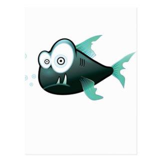 bugged eyed crazy fish postcard