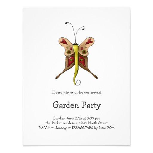 Buggin' You Again · Beige & Green Butterfly Custom Invites