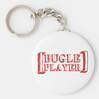Bugle Player Basic Round Button Key Ring