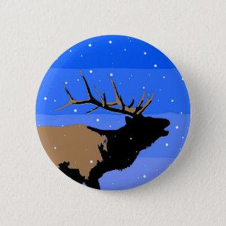 Bugling Elk in Winter 6 Cm Round Badge
