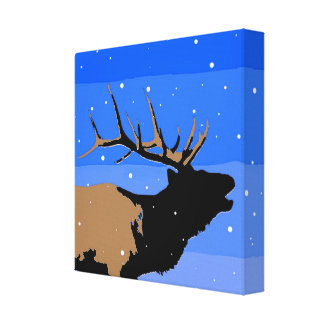 Bugling Elk in Winter  - Original Wildlife Art Canvas Print