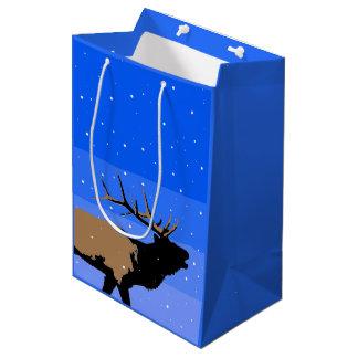 Bugling Elk in Winter  - Original Wildlife Art Medium Gift Bag