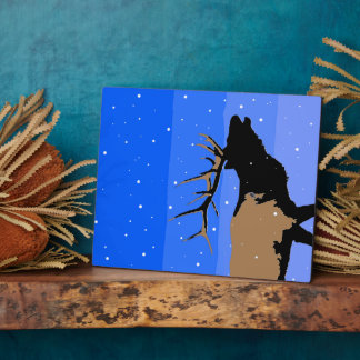 Bugling Elk in Winter  - Original Wildlife Art Plaque