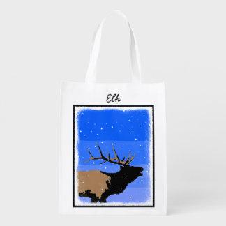 Bugling Elk in Winter  - Original Wildlife Art Reusable Grocery Bag
