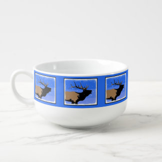 Bugling Elk in Winter  - Original Wildlife Art Soup Mug