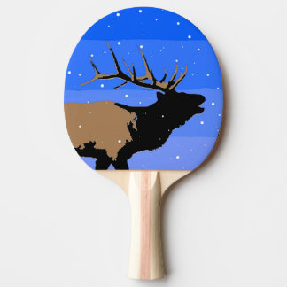 Bugling Elk in Winter Ping Pong Paddle