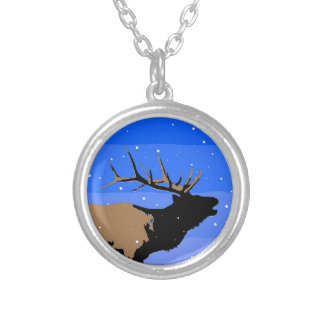 Bugling Elk in Winter Silver Plated Necklace
