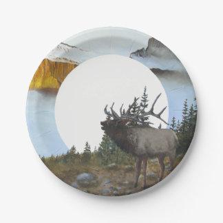 Bugling Elk Paper Plate