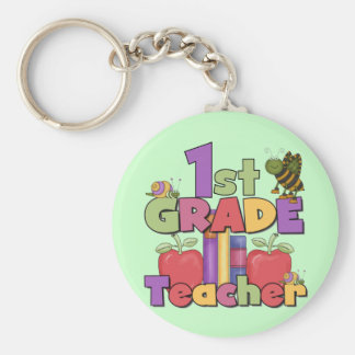 Bugs and Apples 1st Grade Tshirts and Gifts Basic Round Button Key Ring