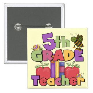 Bugs and Apples 5th Grade Teacher Pinback Button