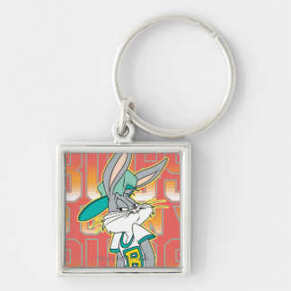 BUGS BUNNY™ Cool School Outfit Silver-Colored Square Key Ring