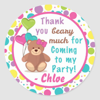 Build A Bear Girl's Birthday Party Thank You Label Round Sticker