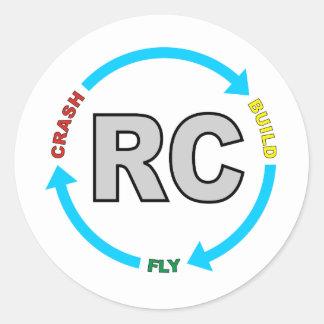 Build Crash Fly RC Classic Round Sticker