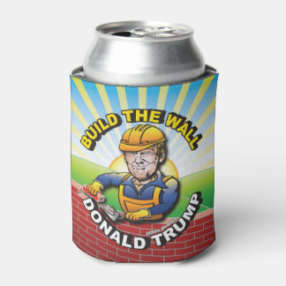 BUILD THE WALL DONALD TRUMP BRICK LAYER MASON USA CAN COOLER