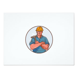 Builder Arms Crossed Hammer Circle Drawing 17 Cm X 22 Cm Invitation Card