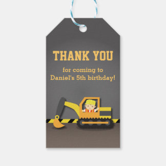 Builder Boy Excavator Construction Party Birthday Gift Tags