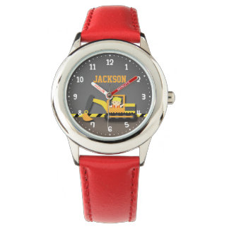 Builder Boy Orange Excavator Construction Vehicle Watch