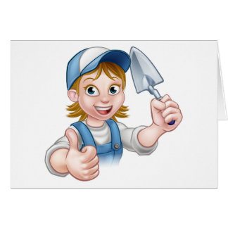 Builder Bricklayer Construction Worker Trowel Tool Card