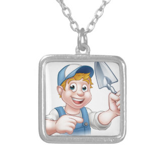 Builder Bricklayer Construction Worker Trowel Tool Silver Plated Necklace