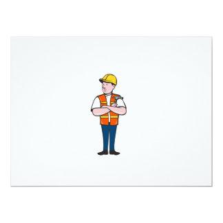 Builder Carpenter Folded Arms Hammer Cartoon Card