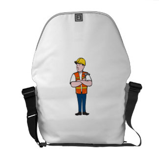 Builder Carpenter Folded Arms Hammer Cartoon Courier Bags