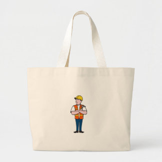 Builder Carpenter Folded Arms Hammer Cartoon Large Tote Bag