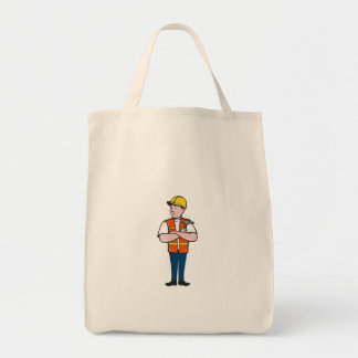 Builder Carpenter Folded Arms Hammer Cartoon Tote Bag