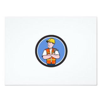 Builder Carpenter Folded Arms Hammer Circle Cartoo 17 Cm X 22 Cm Invitation Card