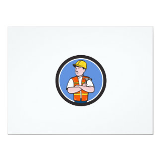 Builder Carpenter Folded Arms Hammer Circle Cartoo Card