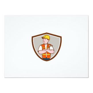Builder Carpenter Folded Arms Hammer Crest Cartoon Card