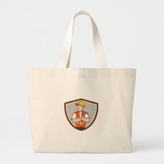 Builder Carpenter Folded Arms Hammer Crest Cartoon Large Tote Bag