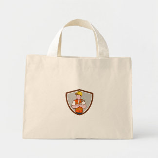 Builder Carpenter Folded Arms Hammer Crest Cartoon Mini Tote Bag