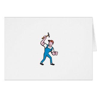 Builder Carpenter Holding Hammer Cartoon Card