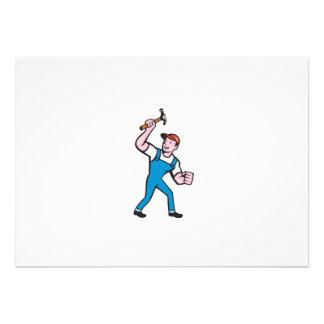 Builder Carpenter Holding Hammer Cartoon Custom Announcements