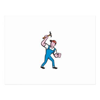 Builder Carpenter Holding Hammer Cartoon Post Cards