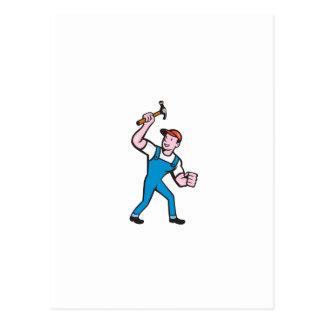 Builder Carpenter Holding Hammer Cartoon Postcards
