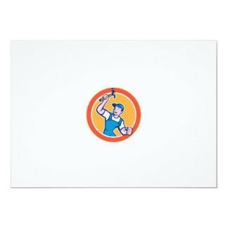 Builder Carpenter Holding Hammer Circle Cartoon Announcements