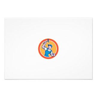 Builder Carpenter Holding Hammer Circle Cartoon Personalized Invites