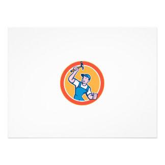 Builder Carpenter Holding Hammer Circle Cartoon Personalised Invite