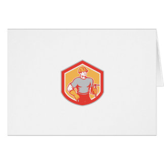 Builder Carpenter Holding Hammer Shield Retro Cards