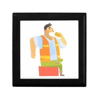 Builder Eating Lunch On Construction Site Gift Box