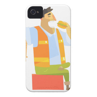 Builder Eating Lunch On Construction Site iPhone 4 Case-Mate Case
