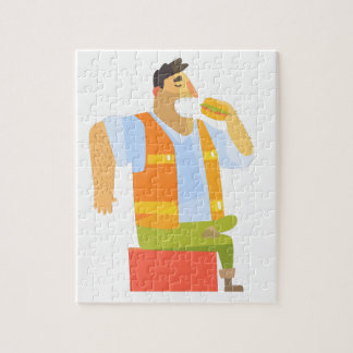 Builder Eating Lunch On Construction Site Jigsaw Puzzle